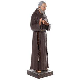 Estatua San Padre Pío fibra de vidrio coloreada 82 cm ojos vidrio s6