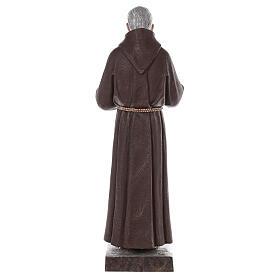 Estatua San Padre Pío fibra de vidrio coloreada 82 cm ojos vidrio s8