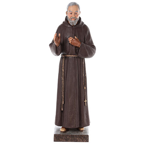 Estatua San Padre Pío fibra de vidrio coloreada 82 cm ojos vidrio 1