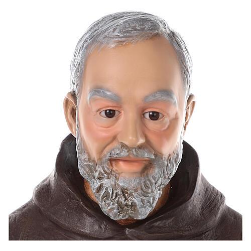 Estatua San Padre Pío fibra de vidrio coloreada 82 cm ojos vidrio 3