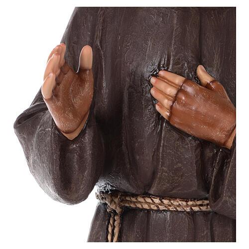 Estatua San Padre Pío fibra de vidrio coloreada 82 cm ojos vidrio 5
