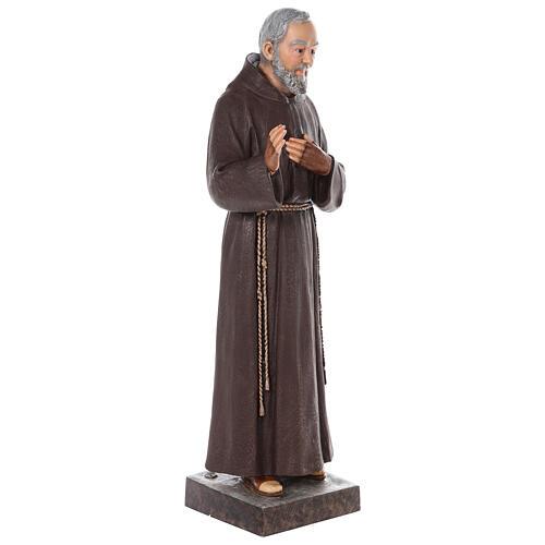 Estatua San Padre Pío fibra de vidrio coloreada 82 cm ojos vidrio 6