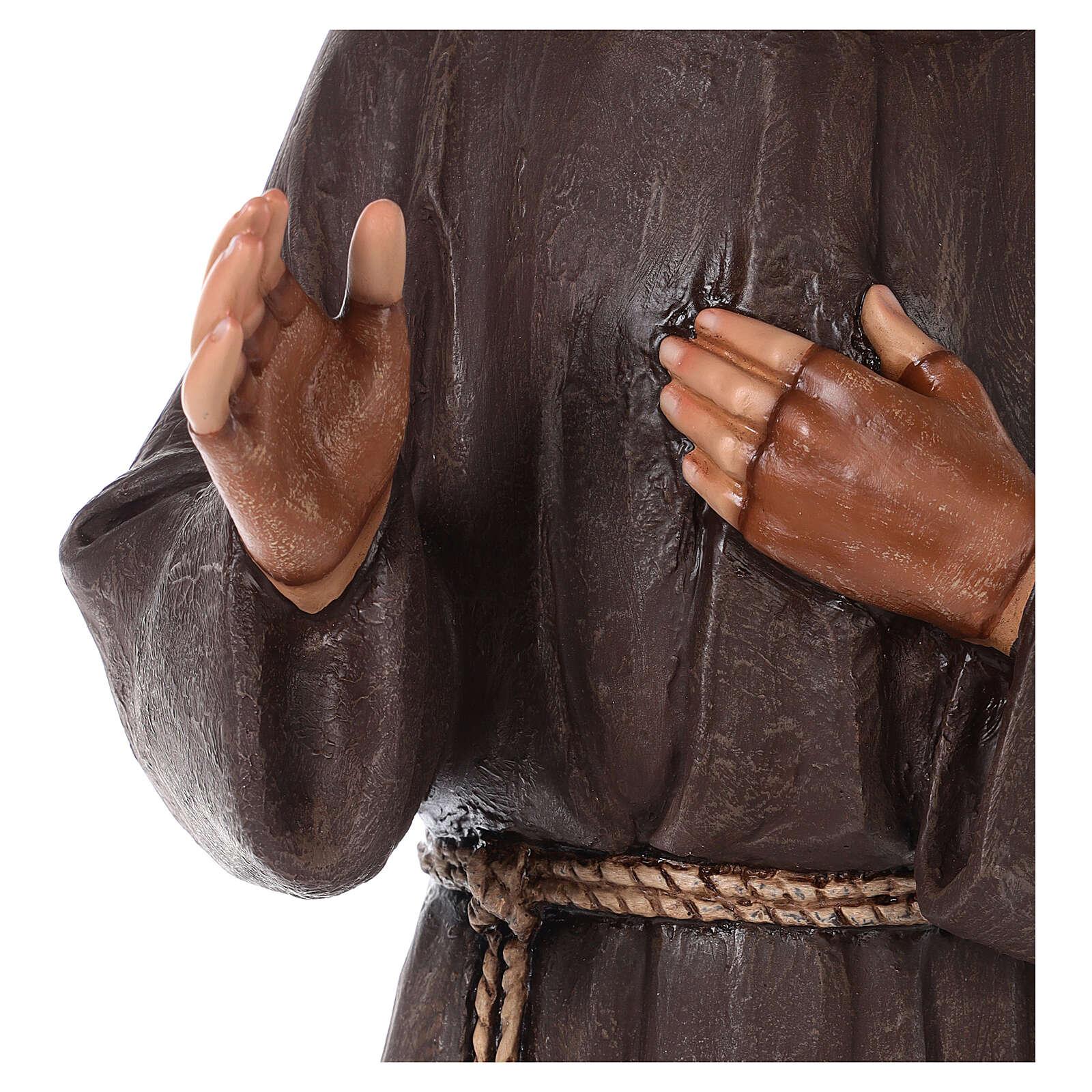 Statue Saint Pio fibre de verre colorée 82 cm yeux en verre 4