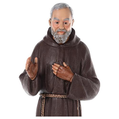 Statue Saint Pio fibre de verre colorée 82 cm yeux en verre 2