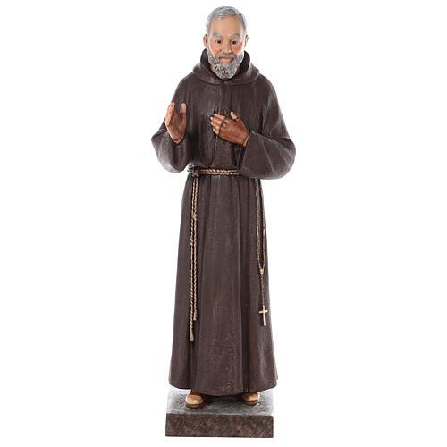 Statua San Padre Pio vetroresina colorata 82 cm occhi vetro 1
