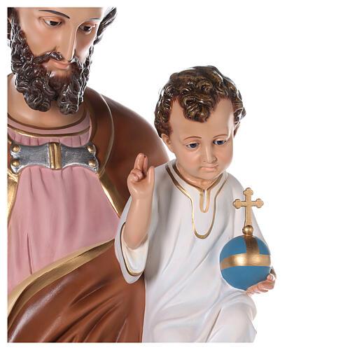 Estatua San José fibra de vidrio coloreada 130 cm ojos vidrio