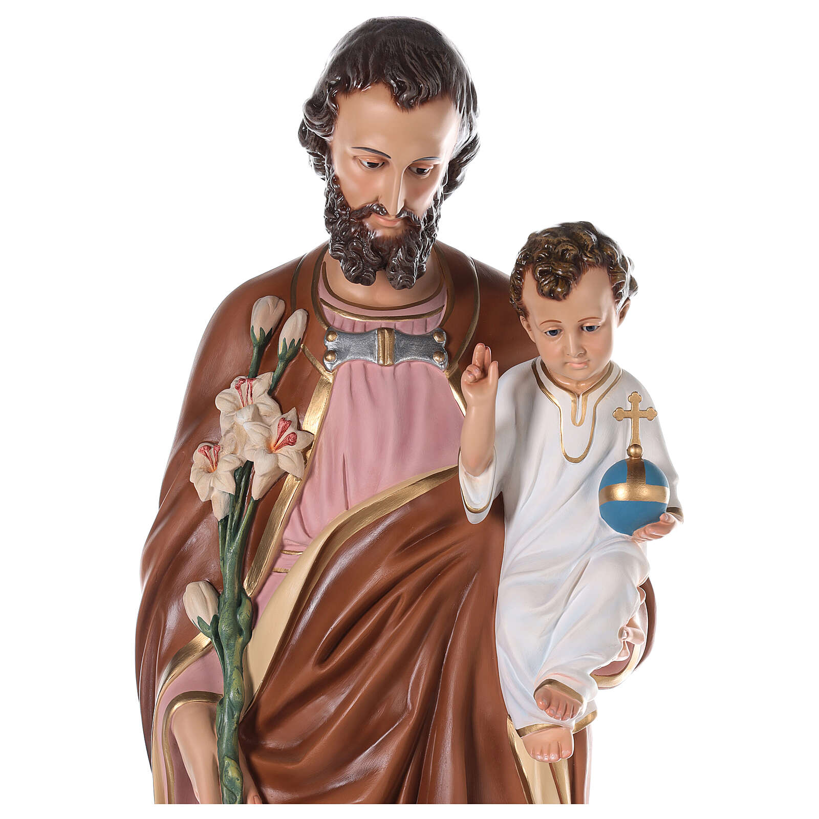Statua San Giuseppe vetroresina colorata 130 cm occhi vetro 4