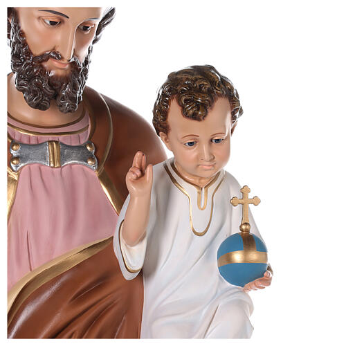 Statua San Giuseppe vetroresina colorata 130 cm occhi vetro 2