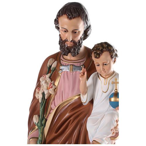 Statua San Giuseppe vetroresina colorata 130 cm occhi vetro 8