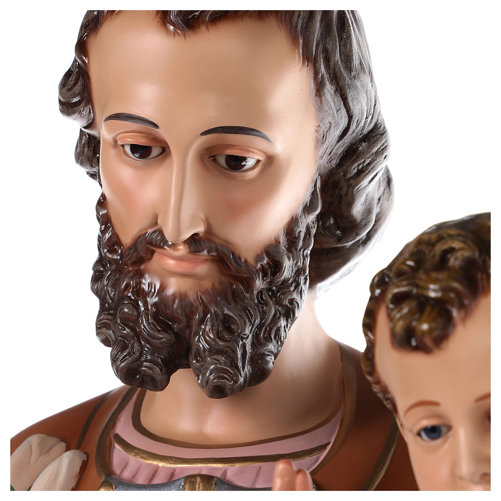 St Joseph statue 130 cm, in colored fiberglass with glass eyes 4