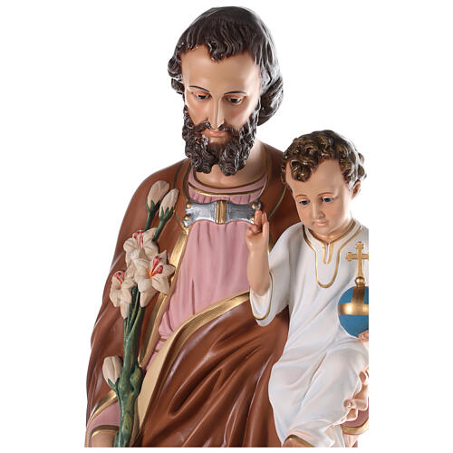 St Joseph statue 130 cm, in colored fiberglass with glass eyes 8