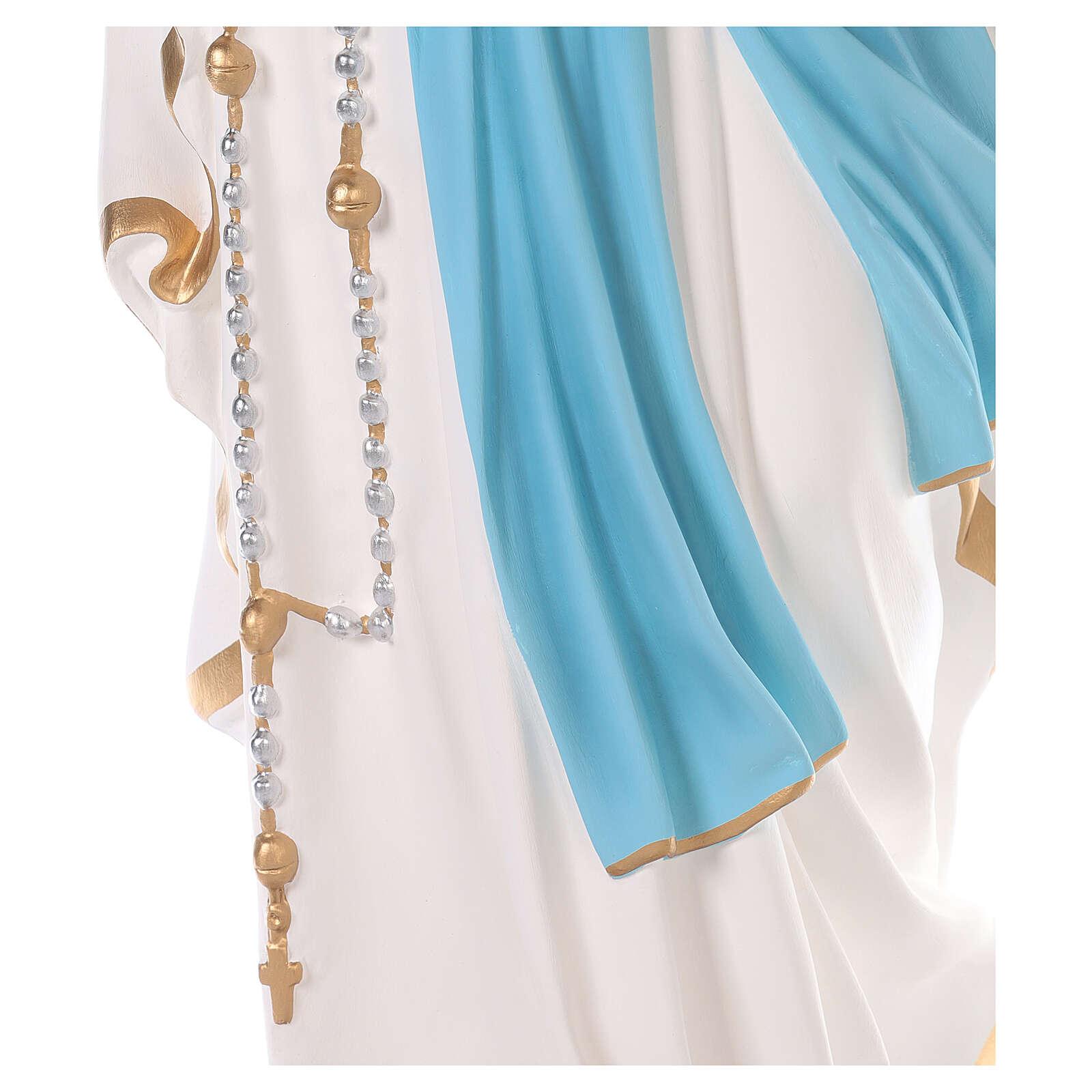 Virgen de Lourdes fibra de vidrio coloreada 110 cm ojos vidrio 4