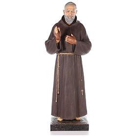 Saint Pio statue fibre de verre colorée 180 cm yeux verre s1