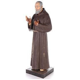 Saint Pio statue fibre de verre colorée 180 cm yeux verre s2