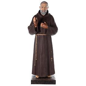 Saint Pio statue fibre de verre colorée 180 cm yeux verre s5