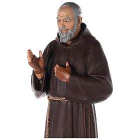 Saint Pio statue fibre de verre colorée 180 cm yeux verre s6