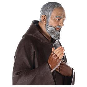 Saint Pio statue fibre de verre colorée 180 cm yeux verre s8