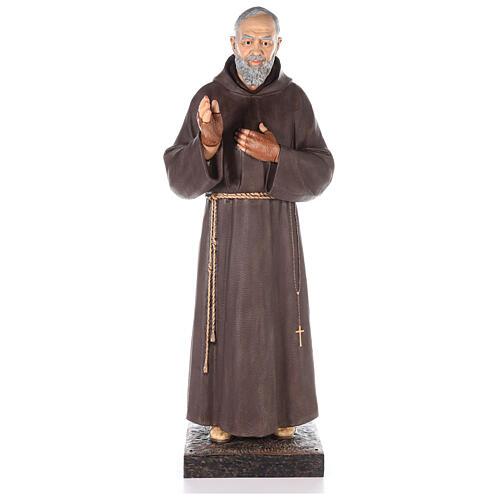 Saint Pio statue fibre de verre colorée 180 cm yeux verre 1