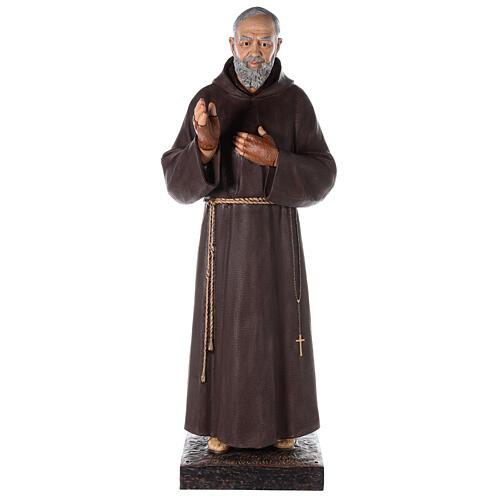 Saint Pio statue fibre de verre colorée 180 cm yeux verre 5