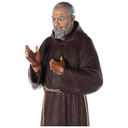 Saint Pio statue fibre de verre colorée 180 cm yeux verre 6