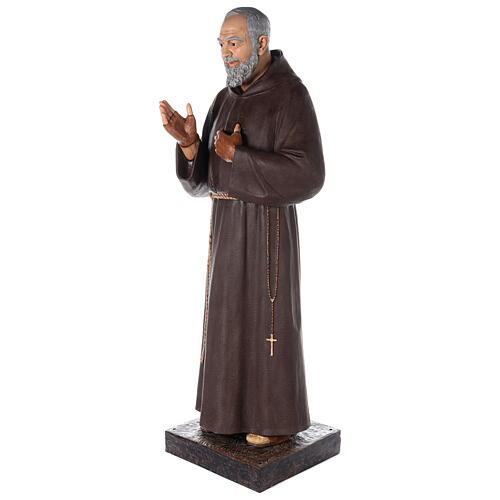 Saint Pio statue fibre de verre colorée 180 cm yeux verre 7