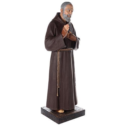 Saint Pio statue fibre de verre colorée 180 cm yeux verre 9