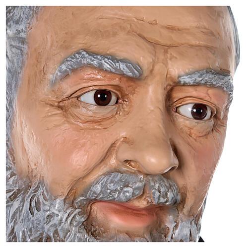 Saint Pio statue fibre de verre colorée 180 cm yeux verre 10