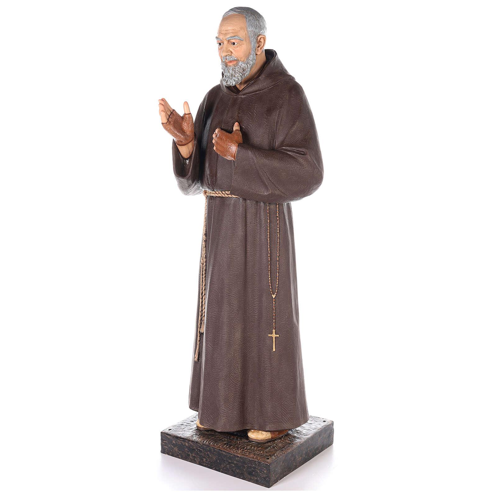 San Pio statua vetroresina colorata 180 cm occhi vetro 4