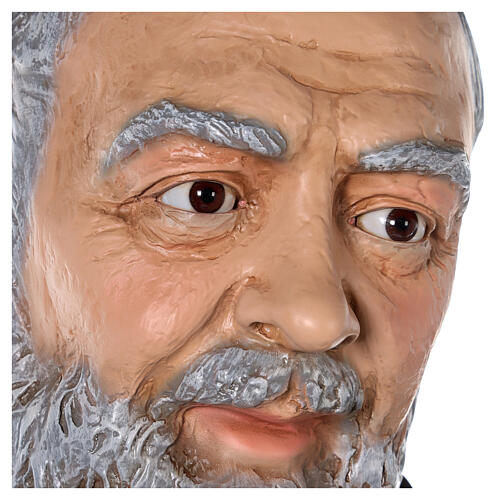 San Pio statua vetroresina colorata 180 cm occhi vetro 10