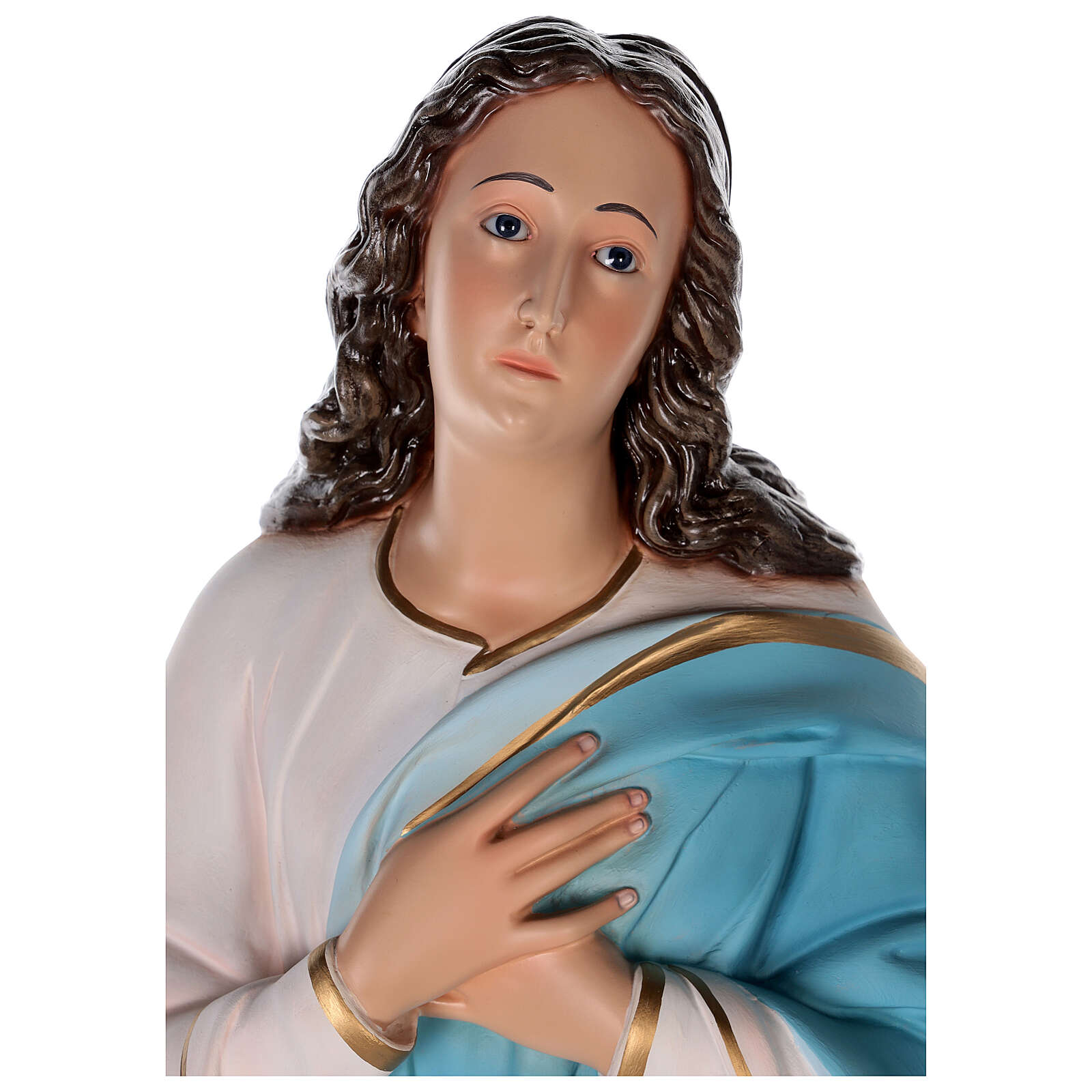 Estatua Virgen Murillo fibra de vidrio coloreada 105 cm ojos vidrio 4