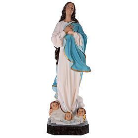 Estatua Virgen Murillo fibra de vidrio coloreada 105 cm ojos vidrio s1
