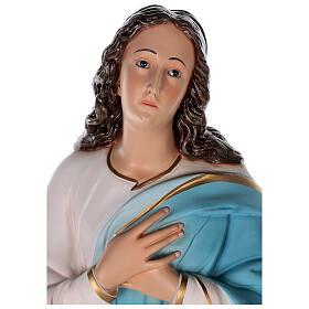 Estatua Virgen Murillo fibra de vidrio coloreada 105 cm ojos vidrio s2