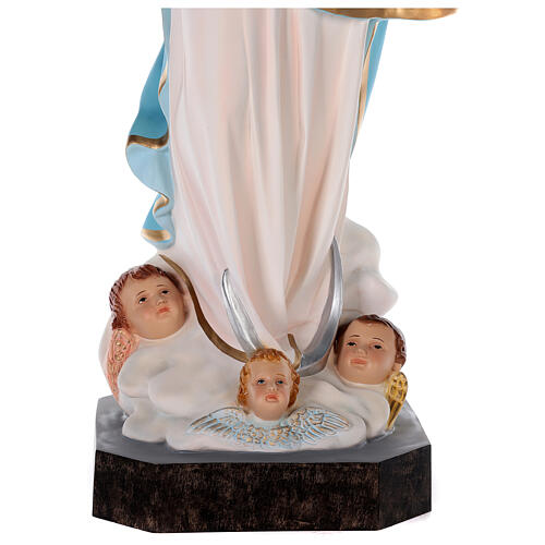 Estatua Virgen Murillo fibra de vidrio coloreada 105 cm ojos vidrio 6