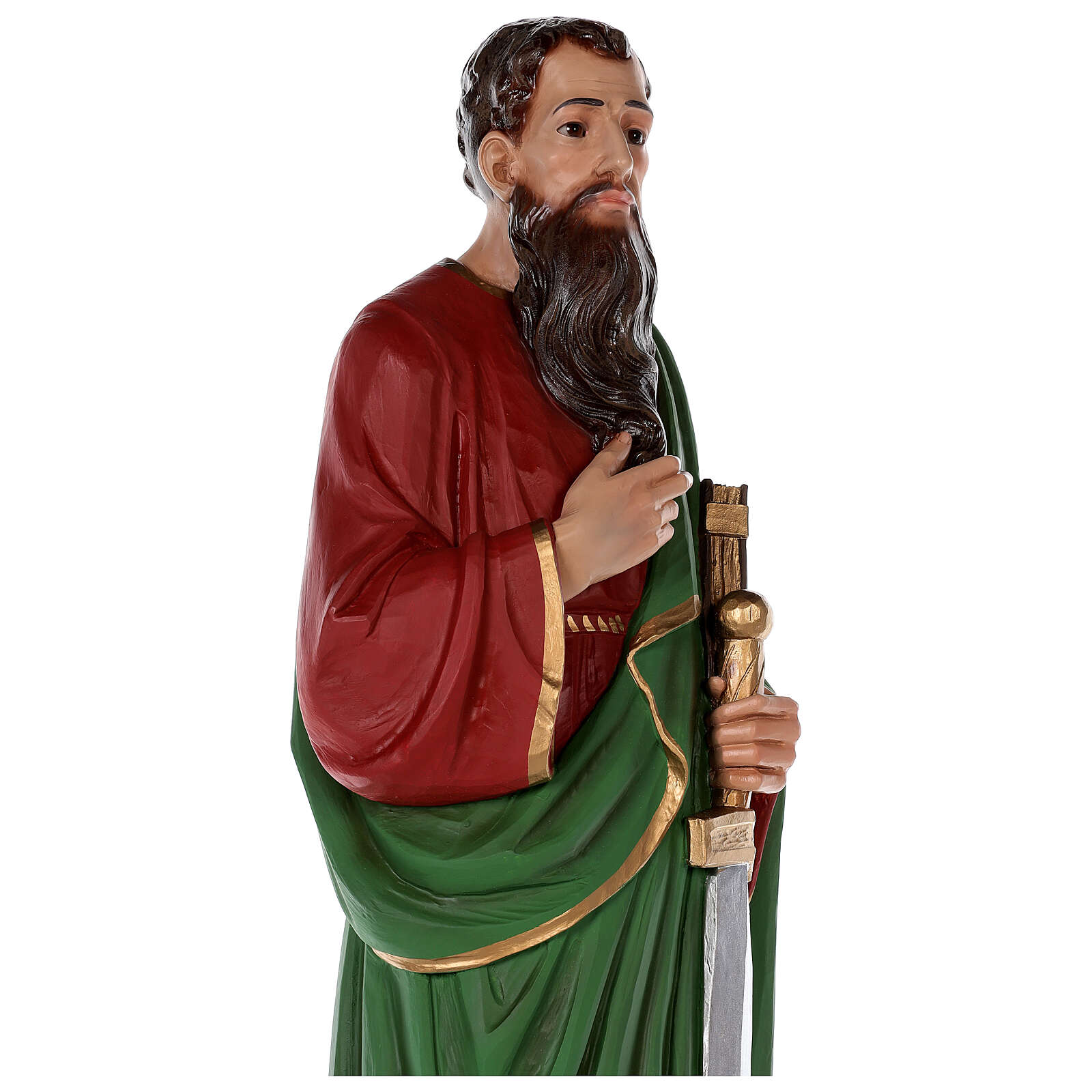 Estatua San Pablo fibra de vidrio coloreada 80 cm ojos vidrio 4