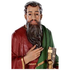 Estatua San Pablo fibra de vidrio coloreada 80 cm ojos vidrio s2