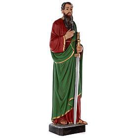 Estatua San Pablo fibra de vidrio coloreada 80 cm ojos vidrio s5