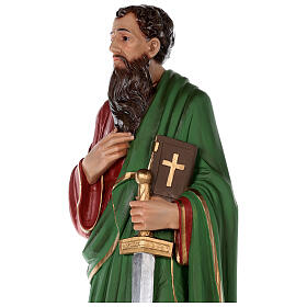 Statue of Saint Paul in colored fiberglass, 80 cm with crystal eyes s4