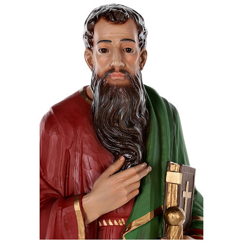 Statue of Saint Paul in colored fiberglass, 80 cm with crystal eyes 2