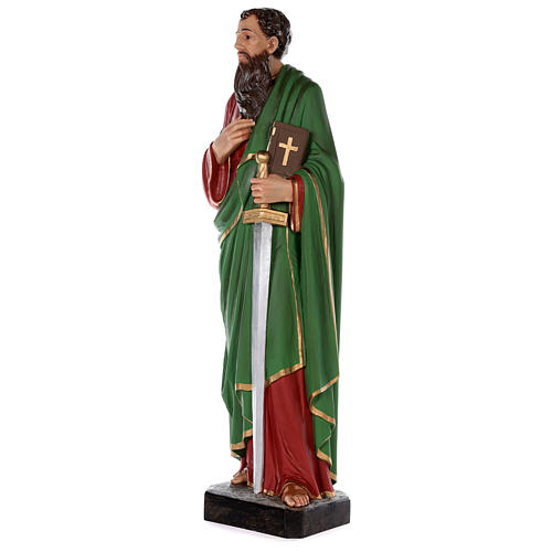 Statue of Saint Paul in colored fiberglass, 80 cm with crystal eyes 3