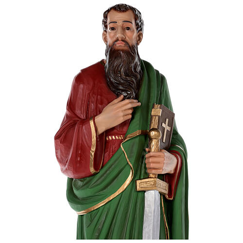 Statue of Saint Paul in colored fiberglass, 80 cm with crystal eyes 7