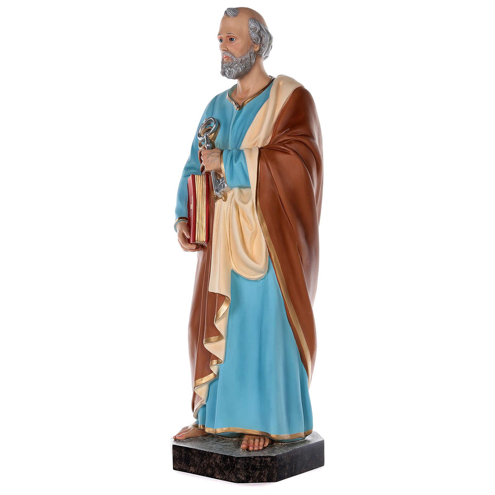 Estatua San Pedro fibra de vidrio coloreada 80 cm ojos vidrio 4