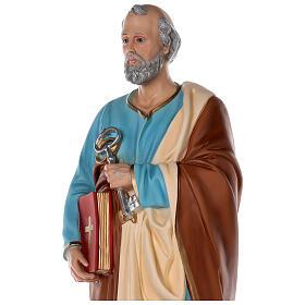 Estatua San Pedro fibra de vidrio coloreada 80 cm ojos vidrio s4
