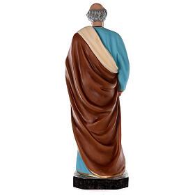 Estatua San Pedro fibra de vidrio coloreada 80 cm ojos vidrio s7