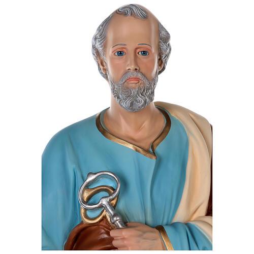 Estatua San Pedro fibra de vidrio coloreada 80 cm ojos vidrio 2
