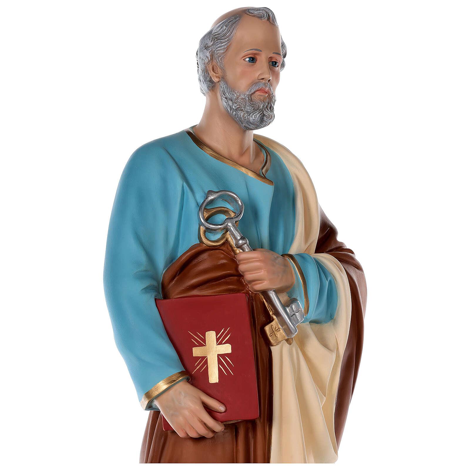 Statua San Pietro vetroresina colorata 80 cm occhi vetro 4