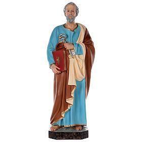 Statua San Pietro vetroresina colorata 80 cm occhi vetro s1