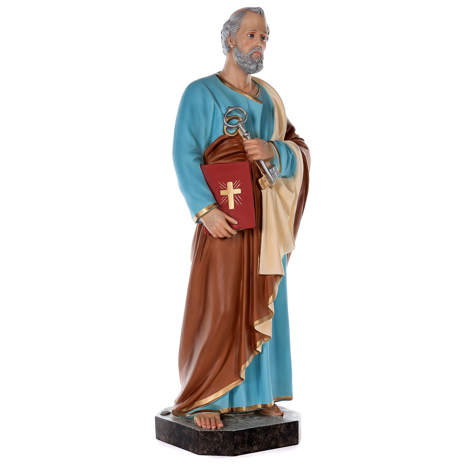 St Peter statue in colored fiberglass, 80 cm crystal eyes 4