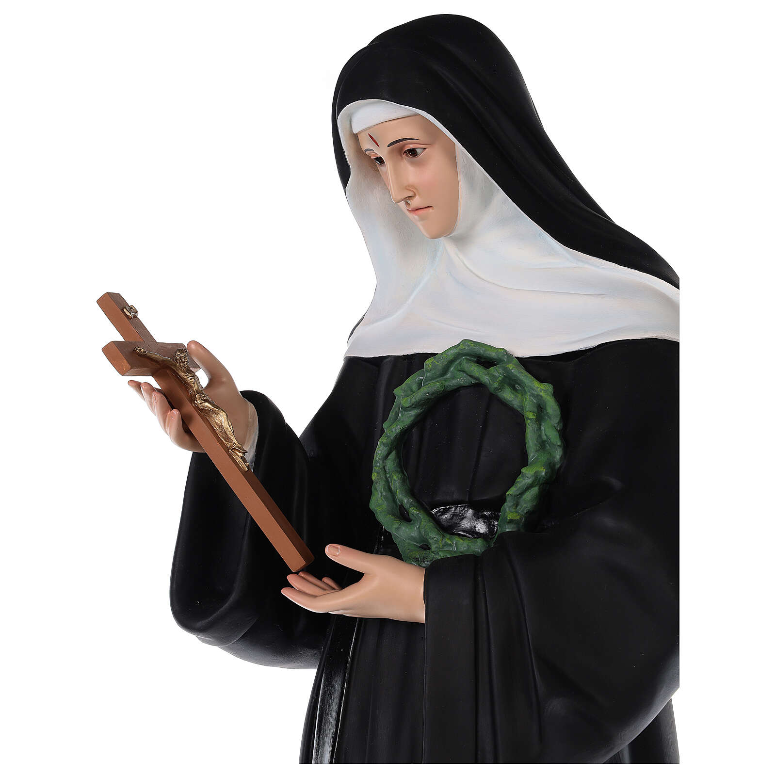 Estatua Santa Rita fibra de vidrio coloreada 100 cm ojos vidrio 4