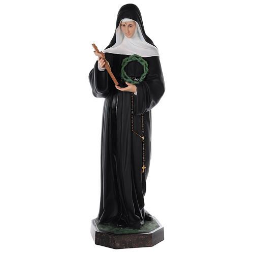 Estatua Santa Rita fibra de vidrio coloreada 100 cm ojos vidrio 1