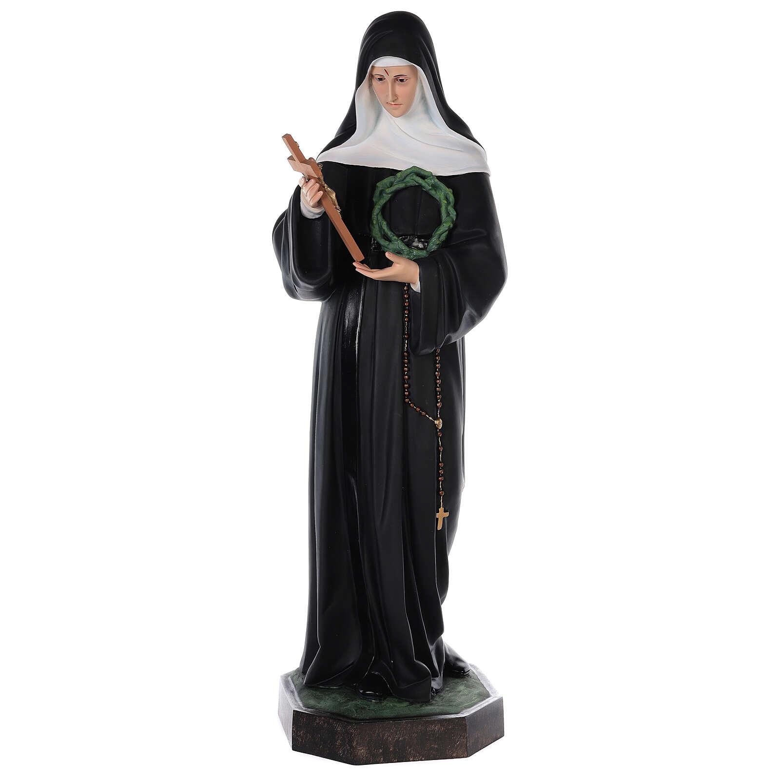 Statue of St Rita in colored fiberglass, 100 cm crystal eyes 4